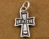 "Sterling Silver Small Cross Pendant / Charm with Open Jump Ring, Antique Finish with ""Faith"" in Center and Heart at bottom,  (SS/CH1/CR15)"