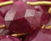 Natural Genuine Ruby AAA Quality Precious Gemstones, Rich Lustrous Color Faceted Heart Briolette Drops 6-8mm, 6 Pieces, (Rby6-8Hrt)