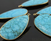 2 Inches Long, Natural TURQUOISE, Bezel  Pear Shape Turquoise Component,Gold Vermeil,  25x45mm, 1 Piece, (BZC7103)
