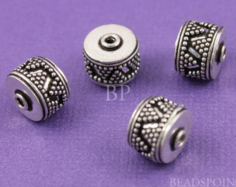 Bali Sterling Silver Rondelle Barrel Bead, Granulated Details and Antique Finish, Lovely Beading Accent, 2 PIECES, (BA5033)