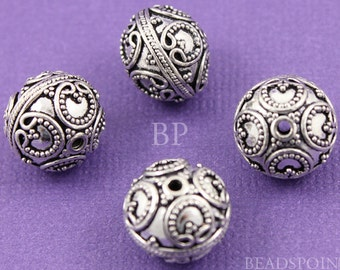 Bali Sterling Silver Bead w/ Granulation and Wirework Detail, Oxidized Finish, Lovely Beading Accent,(1 Piece) BA5105