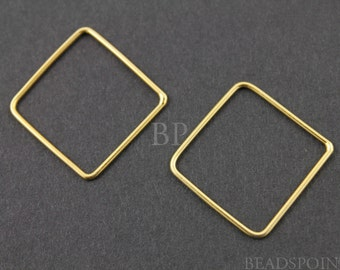 24K Gold Vermeil Over  Sterling Silver  Square Open Link Elegant Modern Jewelry Component Finding, 1 PIECE (VM/698/19)