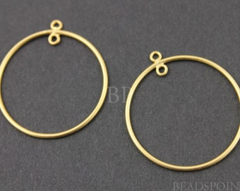24K Gold Vermeil Over  Sterling Silver Round Circle Hoop 20mm Chandelier Finding w/ Inside Ring, Components for Earrings, 1 PAIR (VM/720/20)