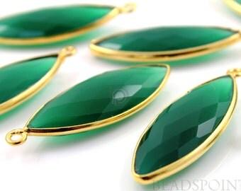 Natural Green Onyx, Bezel Marquise Shape Gemstone Component, Gold Vermeil, ,  14x32mm 1 Piece, (BZC7205)