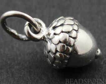 Sterling Silver,  Small Acorn Charm / Pendant with Open Jump Ring, Jewelry Component Finding, 1 Piece, (SS/CH4/CR28)