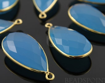 Capri Blue Chalcedony, Bezel Pear Shape Chalcedony Component,  Gold Vermeil ,  15x30mm 1 Piece, (BZC7058)