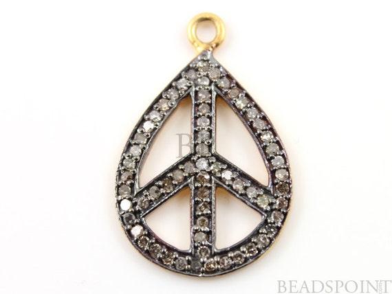 Pave Diamond Pendant, Pave Peace Pendant, Diamond Oval Peace Charm, Pave Peace Necklace, Pave Connector, Gold Plated Over Silver. (DCH/CR1)