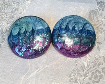 Oceanic Big Button Earrings 1980s Vintage
