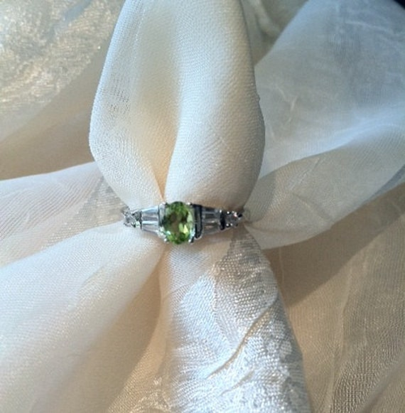 August Baby Peridot & White Zircon Baguette Ring
