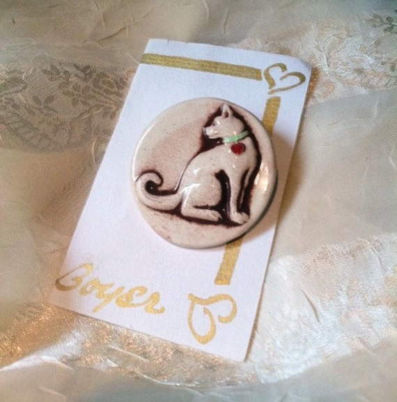 Sweet Kitty Brooch Estate Vintage Pin Designer Gay  Boyer