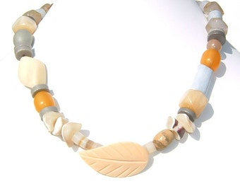 1970s Semi Precious Stone and Shell Necklace