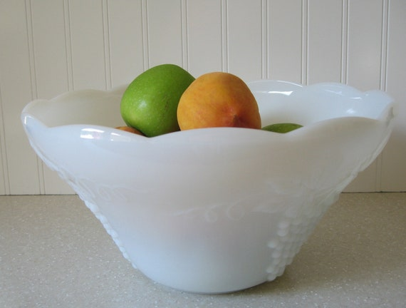 Milk Glass Punch Bowl, Large Bowl, Serving Bowl, Table Setting, Shabby Chic