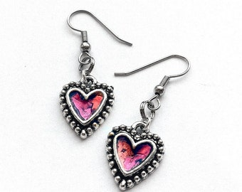 Pink Punk Fashion Earrings, Silver Heart Earrings, Silver and Pink Earrings, Heart Jewelry, Punk Rock Jewelry