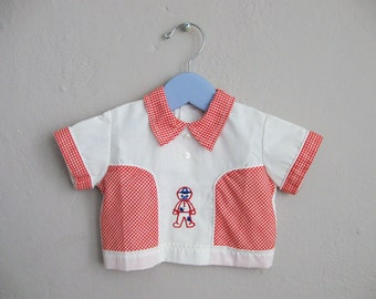 Vintage Boys Western Shirt / Red and White Gingham / Raggedy Andy Applique