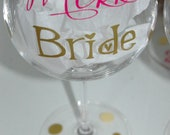 Vinyl wording for your wedding glasses set of 6
