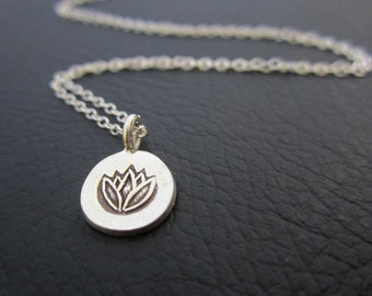Lotus Necklace, silver Lotus pendant necklace, Meditation, Yoga Jewelry, Lotus stamped charm necklace
