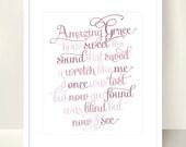 Christian Art Amazing Grace Lyrics - 8x10 inch - Hymn Print Christian Wall Art