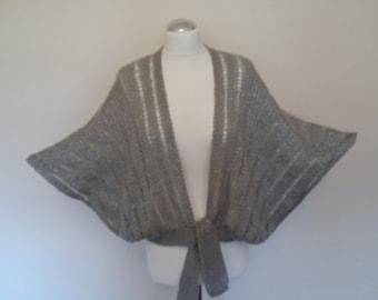 Gray and silver cape shawl