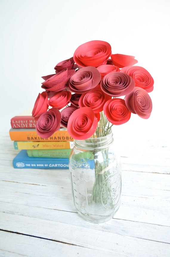 Christmas bouquet  Red Paper Flowers on Stems- Bouquet of Paper Flowers-