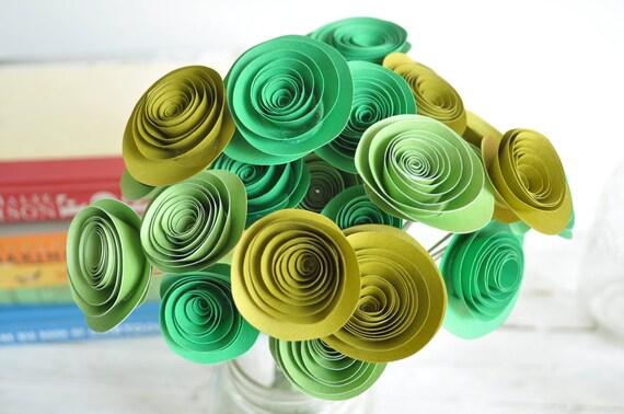 24 Green Paper Flowers Bouquet- Bouquet of Paper Flowers- Green Home Decor