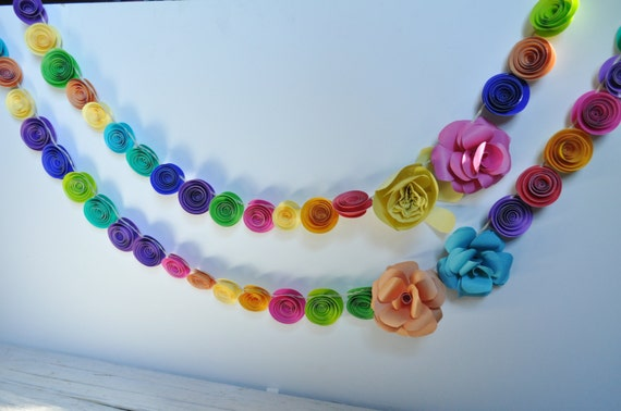 Paper Flower Garland- colorful paper flowers- Party Decorations- Party Garlands