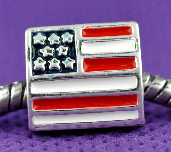 4 Pieces Silver Plated Enamel Triangle American Flag