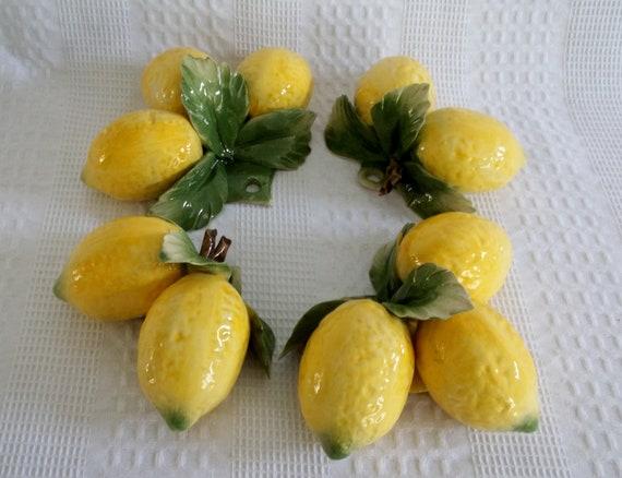 Capodimonte Lemons Four Piece Set Fine Porcelain Imported