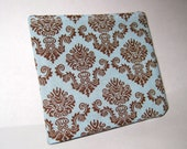 Men's Bifold Wallet- Retro Damask Blue and Brown with Funky Red Striped Lining