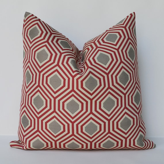 Throw Pillows Girly : Decorative Pillow 16x16 red and grey contemporary