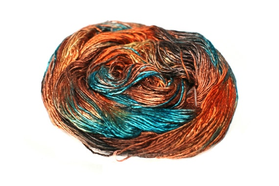 Silk Yarn Hand Dyed Multicolor Mulberry Silk Single Ply Yarn Worsted Weight Knitting Crocheting 95 gm 3,4 oz 240 yards