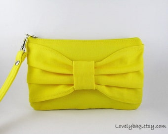 SUPER SALE - Yellow Bow Clutch - Bridal Clutch, Bridesmaid Wristlet, Wedding Clutch, Cosmetic Bag, Camera Bag, Zipper Pouch - Made To Order