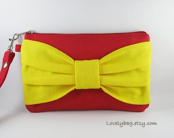 SUPER SALE - Red with Yellow Bow Clutch - iPhone 5 Wallet, iPhone Wristlet, Cell Phone Wristlet, Cosmetic Bag, Zipper Pouch - Made To Order