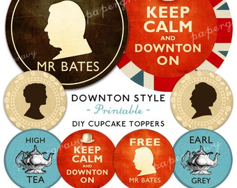 Printable Downton Style Cupcake Toppers 2 inch
