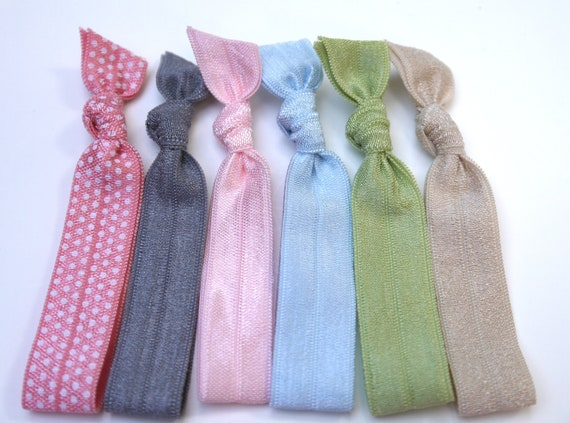 New 6 pcs Elastic Hair Tie - Pink Polka Dot, Grey, Baby Pink, Baby Blue, Honeydew and Beige - Toddler to Adult