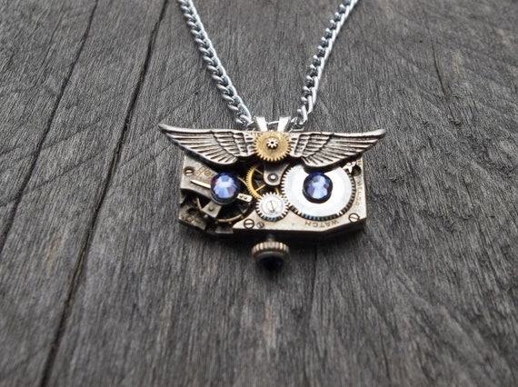 Clockpunk Steampunk Watch Movement & Gears Owl Face Pendant Necklace with Swarovski Crystals on Silver Curb Link Chain