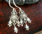 Silver and crystal mini chandelier earrings by Cerise Jewelry