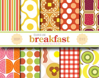 Breakfast Digital Scrapbook Paper Bacon Eggs