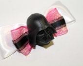Darth Vader Hair Bow/ Brooch White Pink and Black