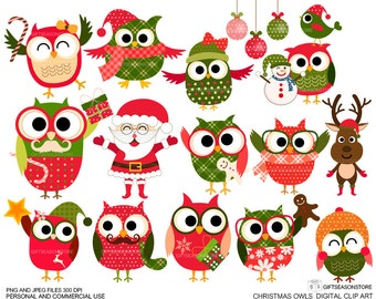 Christmas owls Digital clip art for Personal and Commercial use - INSTANT DOWNLOAD