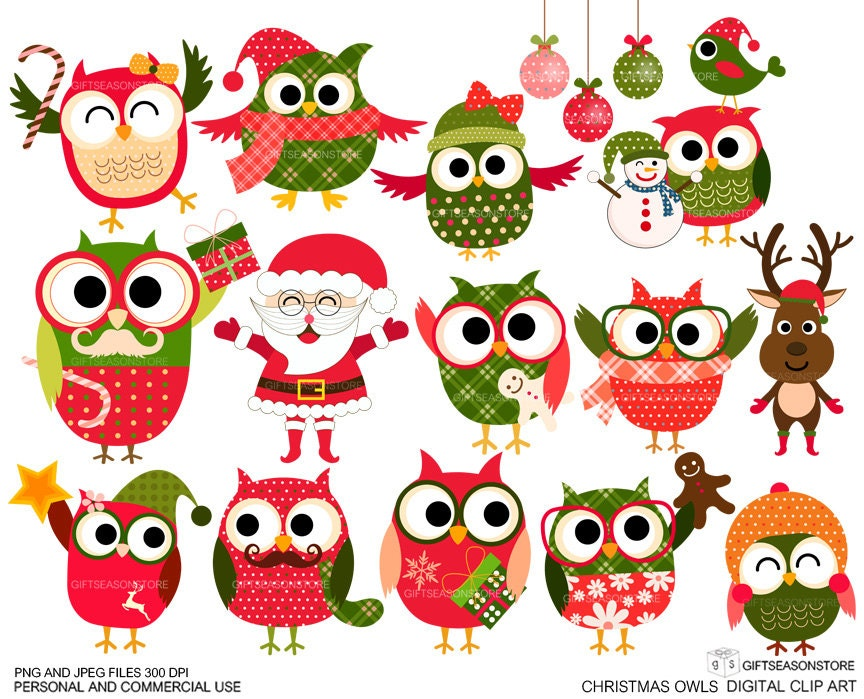 Christmas owls Digital clip art for Personal and Commercial