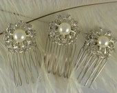 Bridal vintage mini hair combs wedding accessory with vintage pearl and diamante button detail