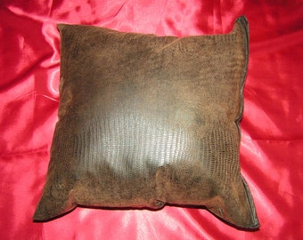 """2 beautiful brown faux suede pillow size 16"""" x 16"""" pillow covers Envelope closure"""