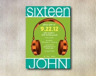 Teen Tween Party Invitation  - Hip Headphones  - Printable DIY - Custom Color and Font