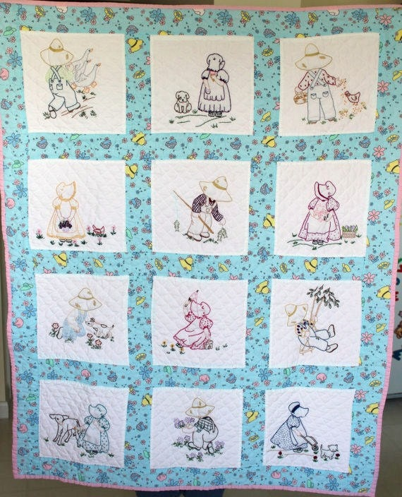 Handmade Baby Quilt  Hand embroidered hand quilted sunbonnet sue and sam  floral pastels great nursery decor