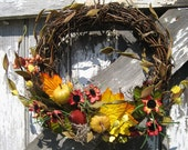SALE - Rustic Grapevine wreath with Pumpkin Pears Berries and Asters - Fall wreath - Harvest wreath - Autumn wreath - Country wreath