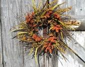 Rustic Hogbrush Wreath with Fall Berries - Fall wreath - Autumn wreath - Harvest wreath - Country wreath - Primitive wreath - Fall Berries