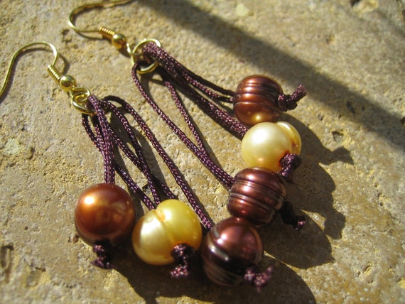 Brown and Gold Fresh water Pearl Drop Earrings on Gold Earring findings