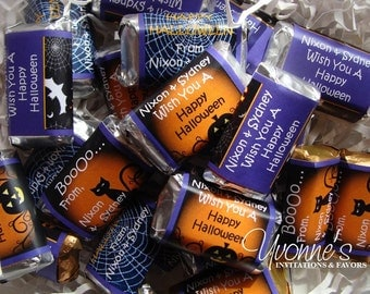 Halloween Mini Candy Bar Wrappers - Miniature Chocolate Bar Favors (For Halloween Party / School Party / Trick or Treat)