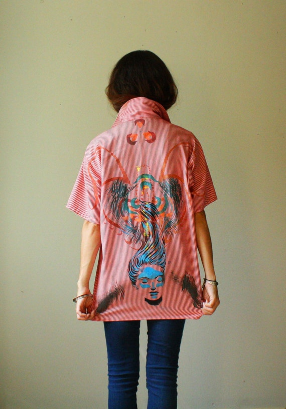 The Art Tee Fundraiser. upcycled vintage polo pinstripe mens shirt with original stencil artwork. size m. ready to ship