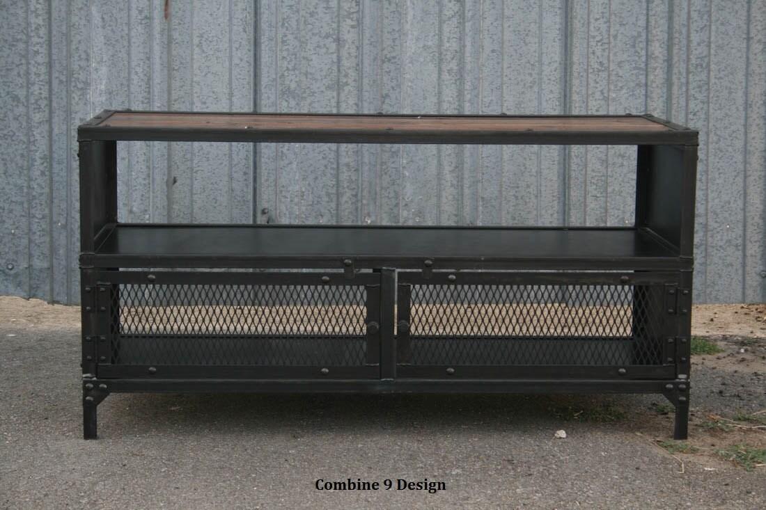 Vintage Industrial Tv Stand Reclaimed Wood Steel Mid